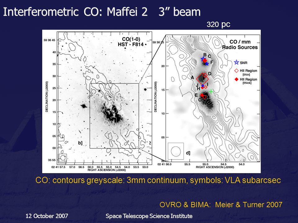 "12 October 2007Space Telescope Science Institute Interferometric CO: Maffei 2 3"" beam 320 pc OVRO & BIMA: Meier & Turner 2007 CO: contours greyscale:"