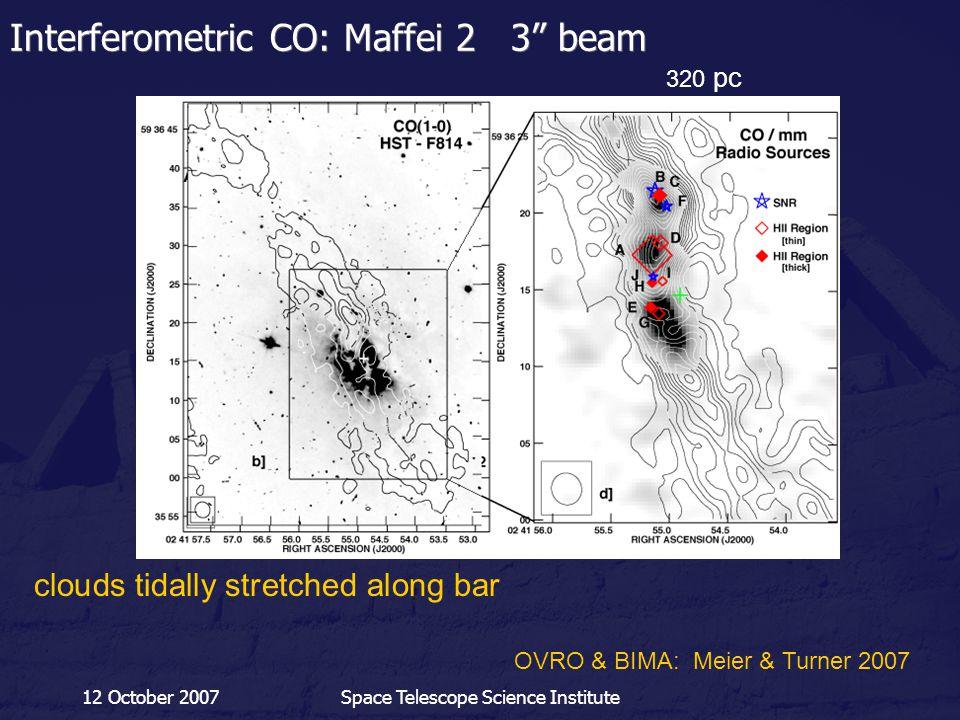 "12 October 2007Space Telescope Science Institute Interferometric CO: Maffei 2 3"" beam 320 pc clouds tidally stretched along bar OVRO & BIMA: Meier & T"