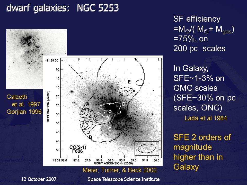 12 October 2007Space Telescope Science Institute dwarf galaxies: NGC 5253 Meier, Turner, & Beck 2002 Calzetti et al. 1997 Gorjian 1996 SF efficiency =