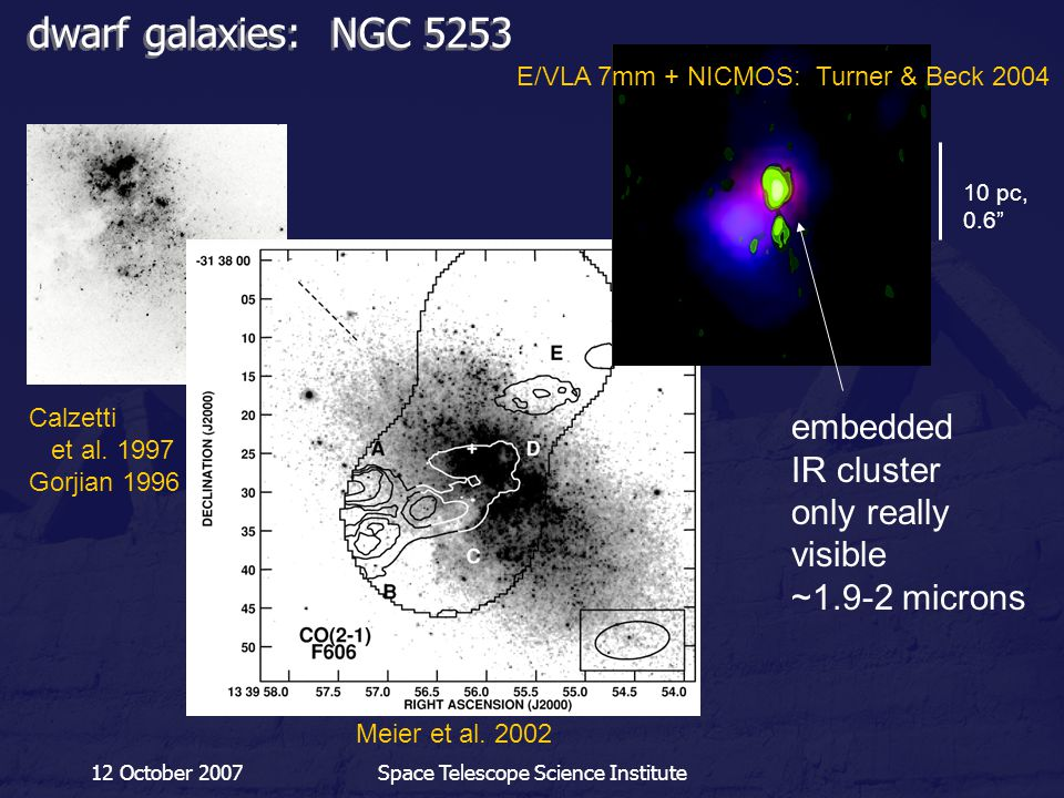 12 October 2007Space Telescope Science Institute dwarf galaxies: NGC 5253 Meier et al. 2002 E/VLA 7mm + NICMOS: Turner & Beck 2004 Calzetti et al. 199
