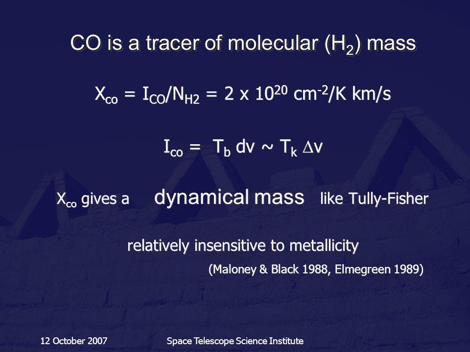 12 October 2007Space Telescope Science Institute CO is a tracer of molecular (H 2 ) mass X co = I CO /N H2 = 2 x 10 20 cm -2 /K km/s I co = T b dv ~ T