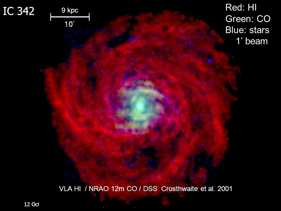 12 October 2007Space Telescope Science Institute IC 342 Red: HI Green: CO Blue: stars 1' beam VLA HI / NRAO 12m CO / DSS Crosthwaite et al. 2001 9 kpc