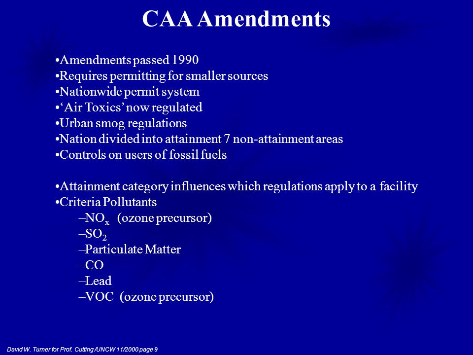 David W. Turner for Prof. Cutting /UNCW 11/2000 page 9 Amendments passed 1990 Requires permitting for smaller sources Nationwide permit system 'Air To