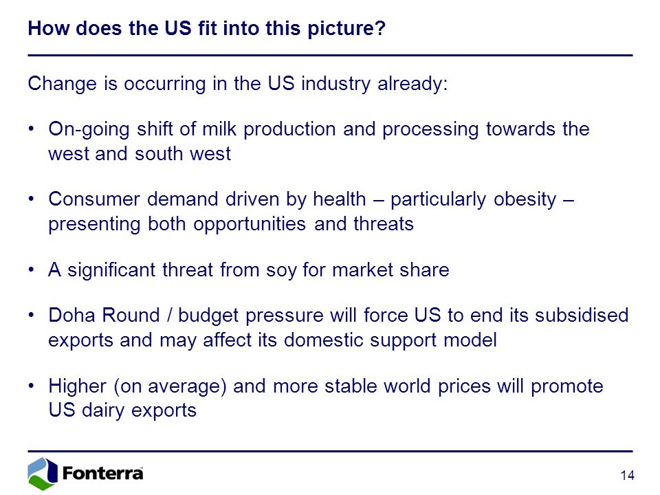 14 How does the US fit into this picture? Change is occurring in the US industry already: On-going shift of milk production and processing towards the