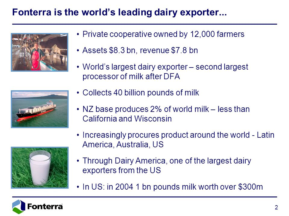 2 Fonterra is the world's leading dairy exporter... Private cooperative owned by 12,000 farmers Assets $8.3 bn, revenue $7.8 bn World's largest dairy
