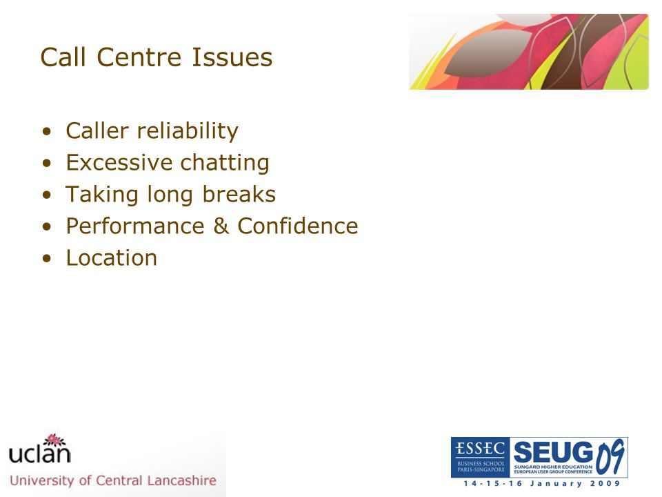 Call Centre Issues Caller reliability Excessive chatting Taking long breaks Performance & Confidence Location