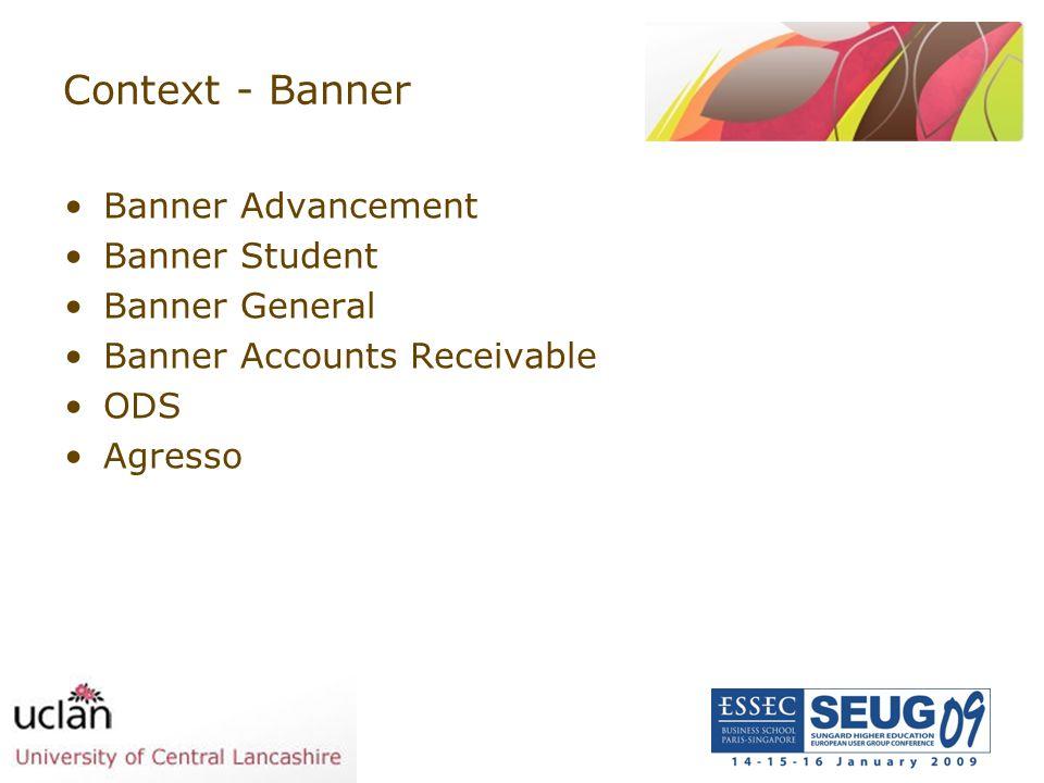 Context - Banner Banner Advancement Banner Student Banner General Banner Accounts Receivable ODS Agresso