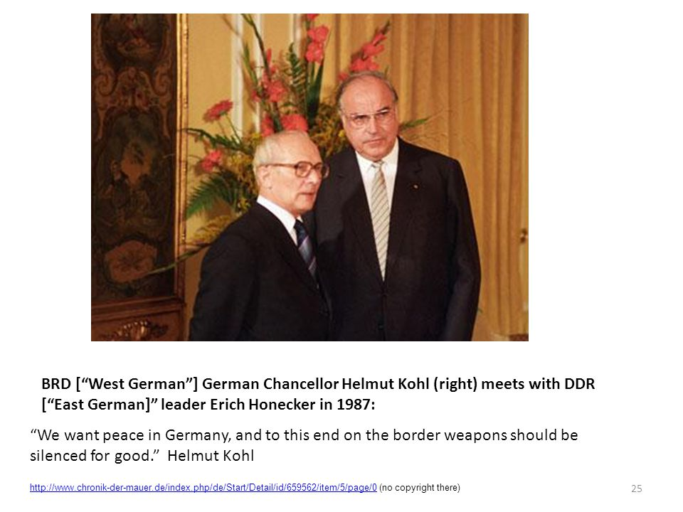 BRD [ West German ] German Chancellor Helmut Kohl (right) meets with DDR [ East German] leader Erich Honecker in 1987: We want peace in Germany, and to this end on the border weapons should be silenced for good. Helmut Kohl 25 http://www.chronik-der-mauer.de/index.php/de/Start/Detail/id/659562/item/5/page/0http://www.chronik-der-mauer.de/index.php/de/Start/Detail/id/659562/item/5/page/0 (no copyright there)