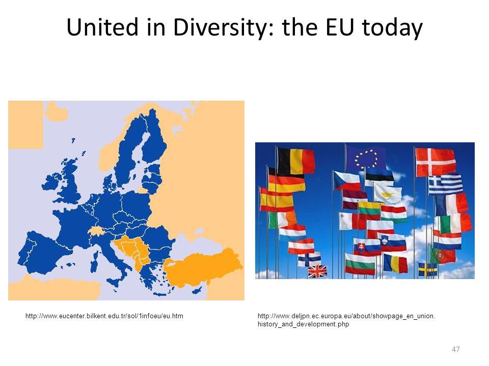 United in Diversity: the EU today 47 http://www.eucenter.bilkent.edu.tr/sol/1infoeu/eu.htmhttp://www.deljpn.ec.europa.eu/about/showpage_en_union.