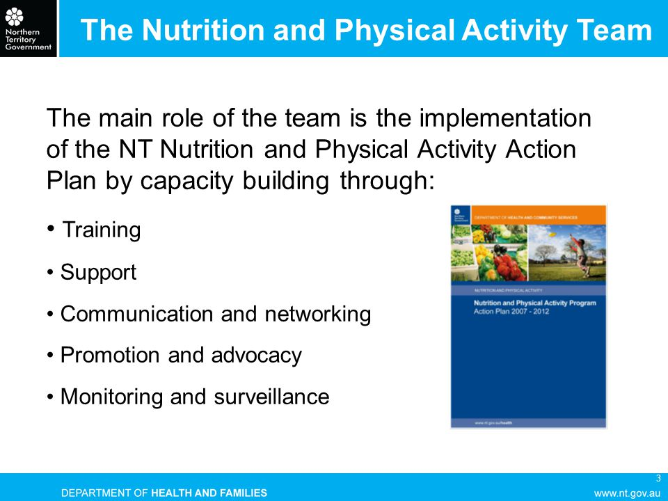 4 Nutrition & Physical Activity Program Action Plan 2007 - 2012 Priorities for action Maternal and child nutrition Food Supply Participation in regular physical activity Healthy weight for all Prevention and management of preventable chronic diseases