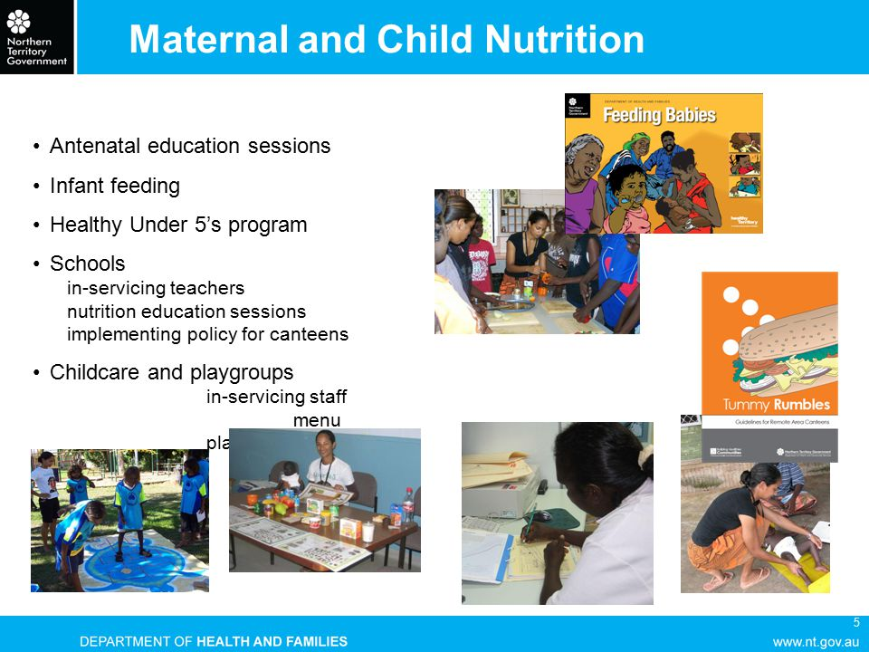5 Maternal and Child Nutrition Antenatal education sessions Infant feeding Healthy Under 5's program Schools in-servicing teachers nutrition education sessions implementing policy for canteens Childcare and playgroups in-servicing staff menu planning
