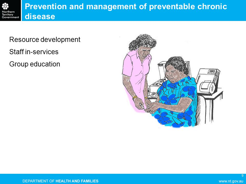 9 Prevention and management of preventable chronic disease Resource development Staff in-services Group education