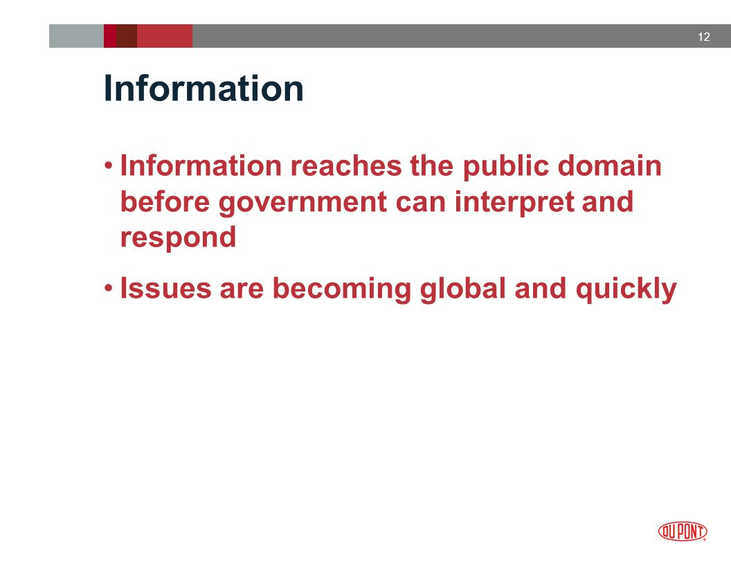 12 Information Information reaches the public domain before government can interpret and respond Issues are becoming global and quickly