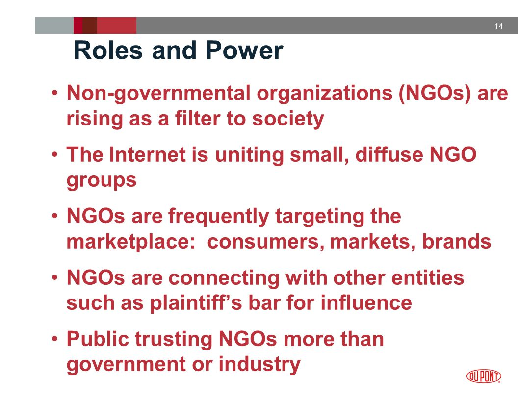 14 Roles and Power Non-governmental organizations (NGOs) are rising as a filter to society The Internet is uniting small, diffuse NGO groups NGOs are frequently targeting the marketplace: consumers, markets, brands NGOs are connecting with other entities such as plaintiff's bar for influence Public trusting NGOs more than government or industry