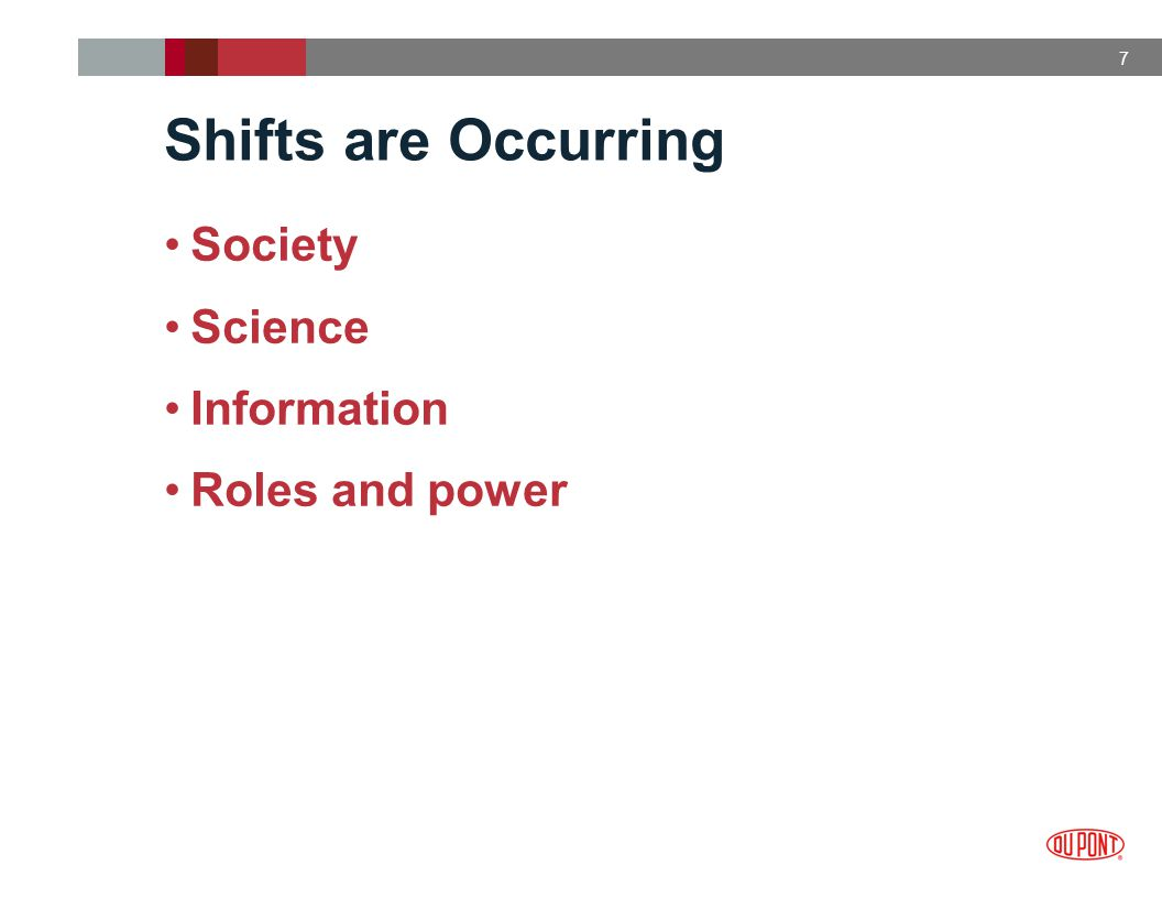 7 Shifts are Occurring Society Science Information Roles and power