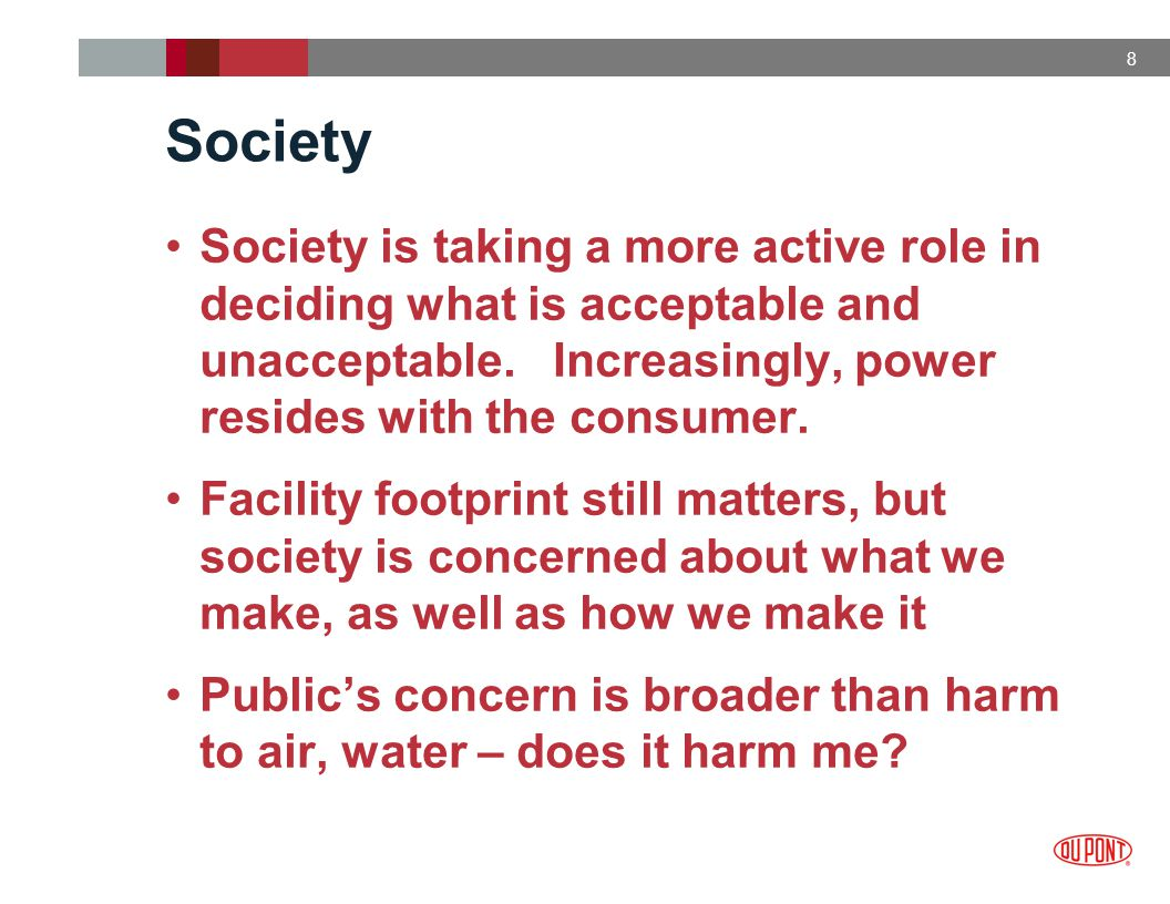 9 Society The public's concern and role is shifting: Products are the new target Concern about lack of product regulation Concern about societal value and impact from our products down the value chain Public's definition of risk includes a strong values component