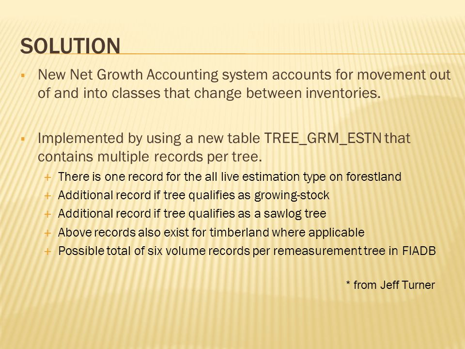 SOLUTION  Recall FIA midpoint methodology for GRM  Change is assumed to occur at the midpoint of measurement interval  Not applicable to survivor trees  For mortality, removals, diversions growth is from Time 1 to midpoint  For reversions, growth is from midpoint to Time 2  For Ingrowth, size threshold often used instead of midpoint  These concepts are incorporated into the Net Growth Accounting method.