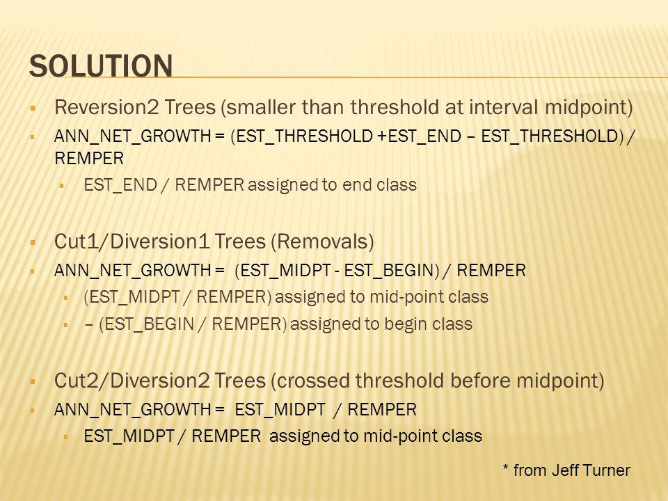 SOLUTION  Mortality1 Trees  ANN_NET_GROWTH = (EST_MIDPT - EST_BEGIN - EST_MIDPT) / REMPER  – EST_BEGIN / REMPER assigned to begin class  Mortality2 Trees (crossed threshold before midpoint)  ANN_NET_GROWTH = (EST_THRESHOLD + EST_MIDPT - EST_THRESHOLD – EST_MIDPT)/REMPER  (EST_MIDPT – EST_MIDPT) / REMPER = 0  Why.