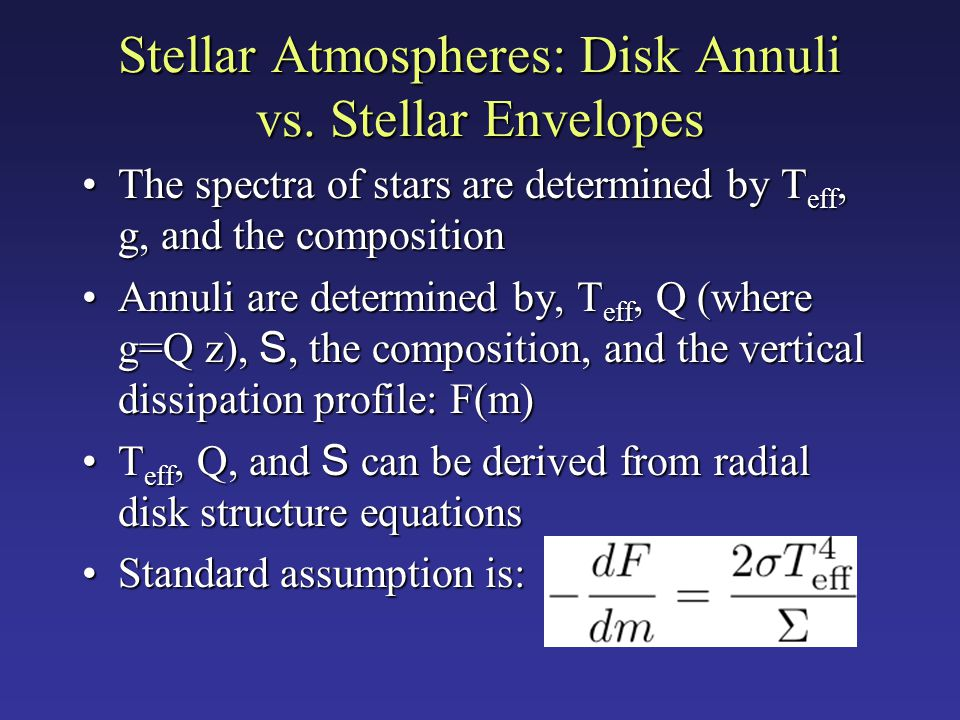 Stellar Atmospheres: Disk Annuli vs. Stellar Envelopes The spectra of stars are determined by T eff, g, and the compositionThe spectra of stars are de