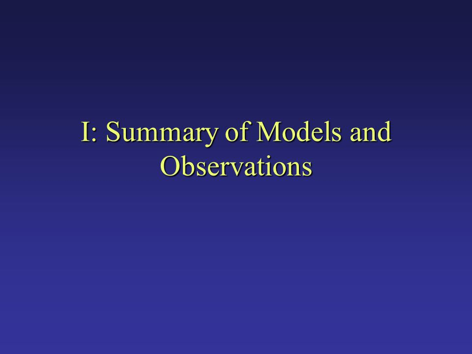 I: Summary of Models and Observations