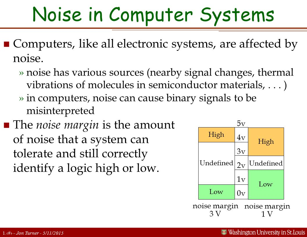 1.10 - Jon Turner - 5/11/2015 Noise in Computer Systems n Computers, like all electronic systems, are affected by noise.