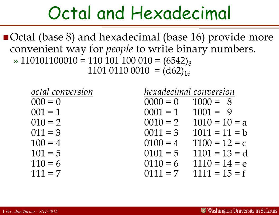 1.13 - Jon Turner - 5/11/2015 Octal and Hexadecimal n Octal (base 8) and hexadecimal (base 16) provide more convenient way for people to write binary numbers.