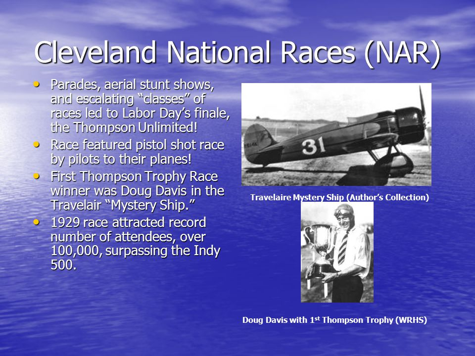 Air Racing Ralph Pulitzer was first to offer prizes for various accomplishments and speed records in air travel.