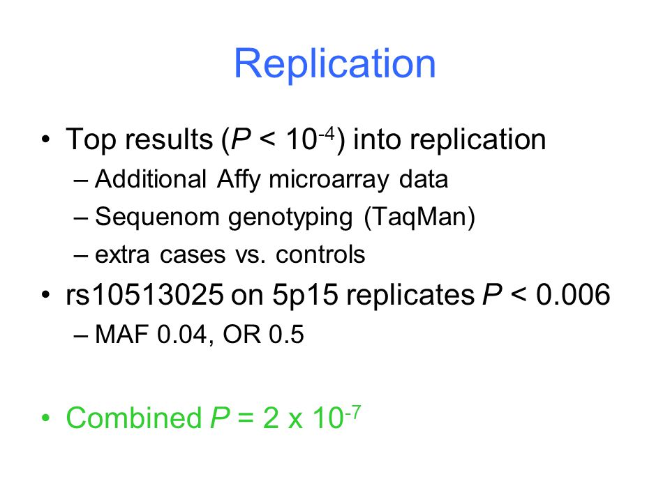 Replication Top results (P < 10 -4 ) into replication –Additional Affy microarray data –Sequenom genotyping (TaqMan) –extra cases vs.