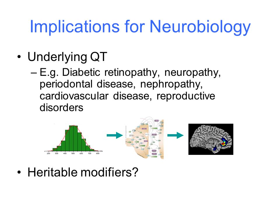 Underlying QT –E.g. Diabetic retinopathy, neuropathy, periodontal disease, nephropathy, cardiovascular disease, reproductive disorders Heritable modif