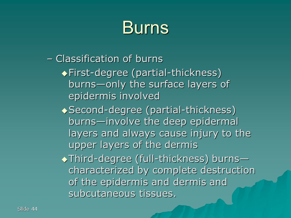 Slide 44 Burns –Classification of burns  First-degree (partial-thickness) burns—only the surface layers of epidermis involved  Second-degree (partial-thickness) burns—involve the deep epidermal layers and always cause injury to the upper layers of the dermis  Third-degree (full-thickness) burns— characterized by complete destruction of the epidermis and dermis and subcutaneous tissues.