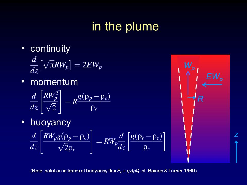 in the plume continuity momentum buoyancy z WpWp EW p R (Note: solution in terms of buoyancy flux F B = g  Q cf.