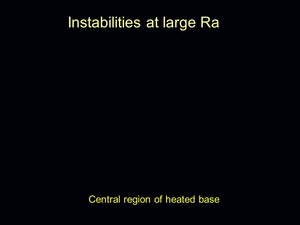 Instabilities at large Ra end of heated base stable outer BL convective instability shear instability eddying instability?