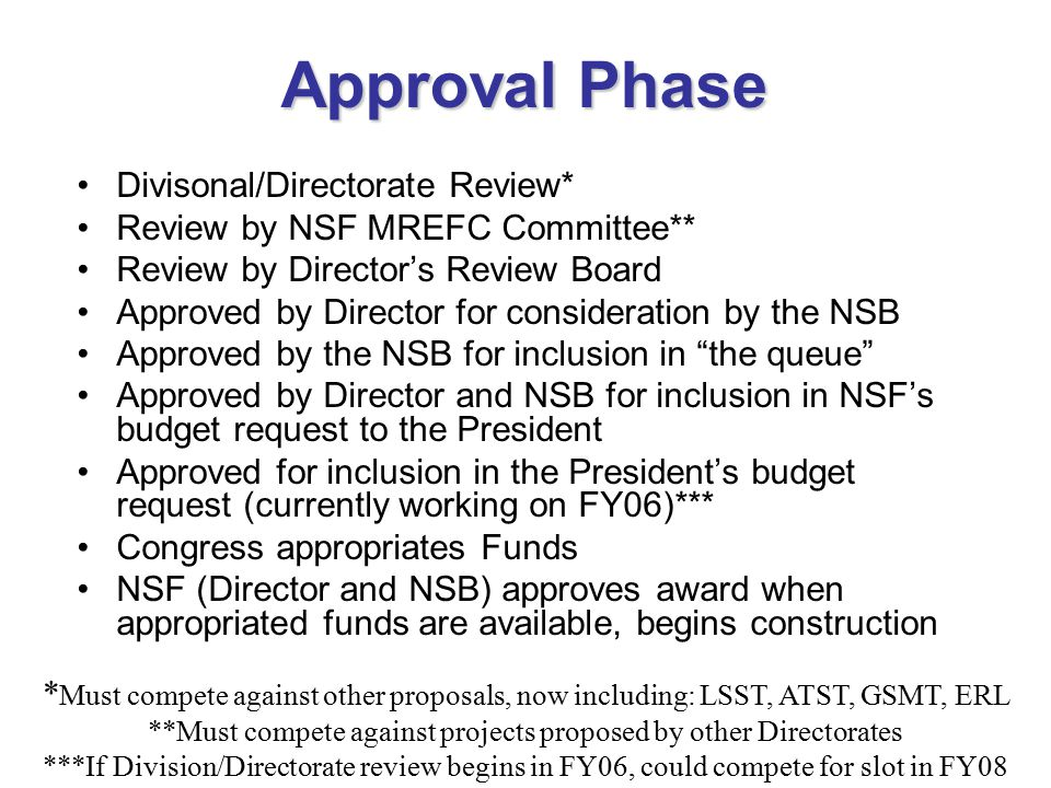Approval Phase Divisonal/Directorate Review* Review by NSF MREFC Committee** Review by Director's Review Board Approved by Director for consideration by the NSB Approved by the NSB for inclusion in the queue Approved by Director and NSB for inclusion in NSF's budget request to the President Approved for inclusion in the President's budget request (currently working on FY06)*** Congress appropriates Funds NSF (Director and NSB) approves award when appropriated funds are available, begins construction * Must compete against other proposals, now including: LSST, ATST, GSMT, ERL **Must compete against projects proposed by other Directorates ***If Division/Directorate review begins in FY06, could compete for slot in FY08