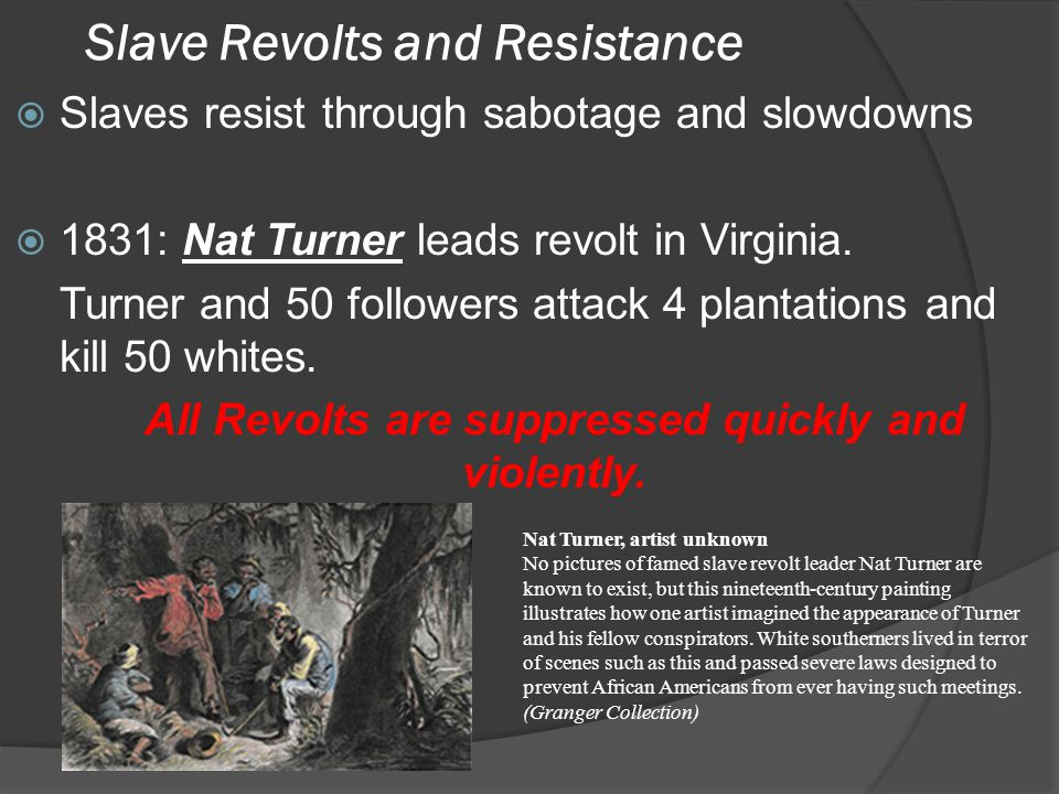 Slave Revolts and Resistance  Slaves resist through sabotage and slowdowns  1831: Nat Turner leads revolt in Virginia.