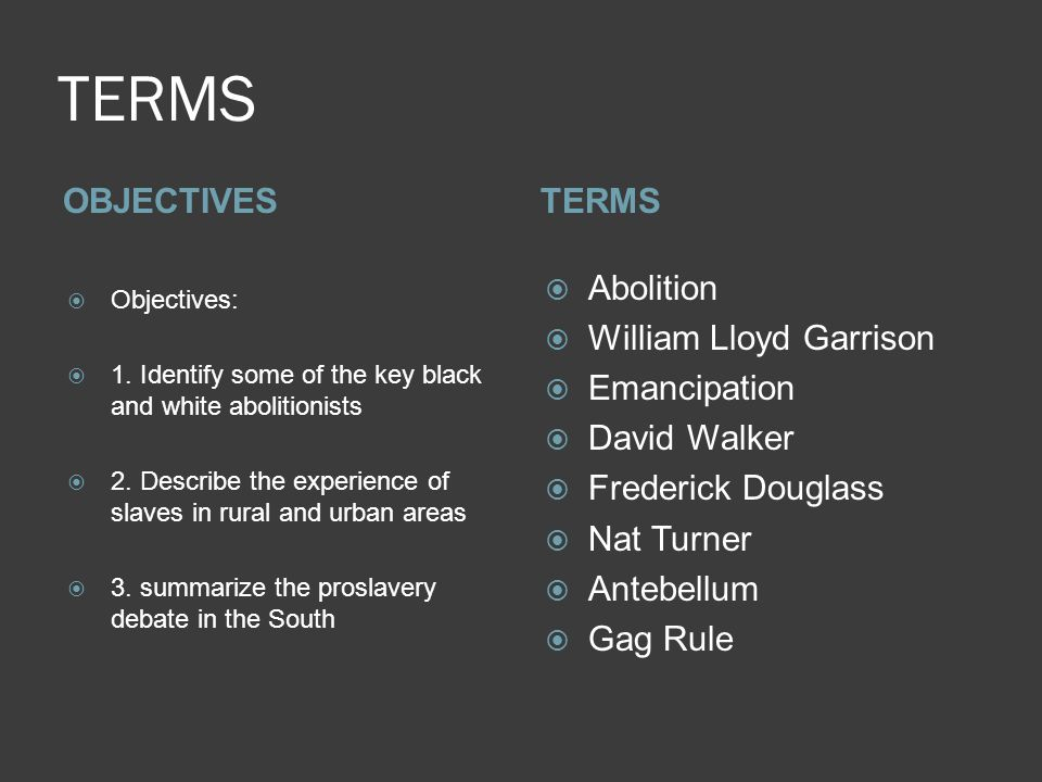 TERMS OBJECTIVESTERMS  Objectives:  1.