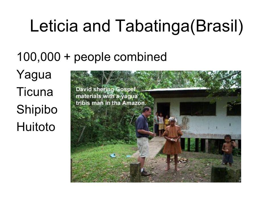 Leticia and Tabatinga(Brasil) 100,000 + people combined Yagua Ticuna Shipibo Huitoto