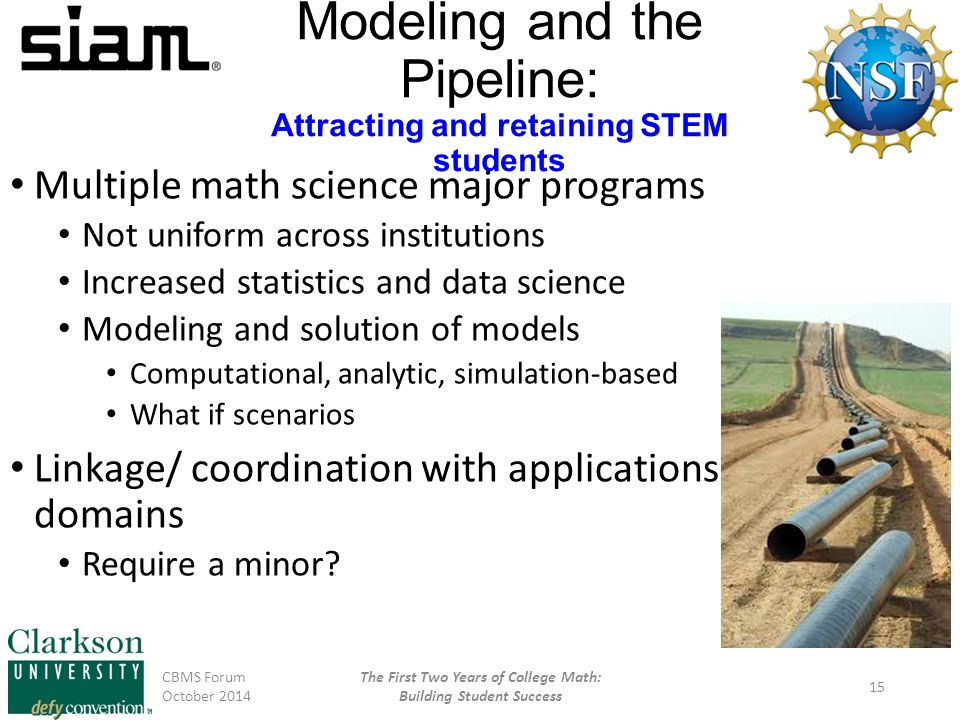 Modeling and the Pipeline: Attracting and retaining STEM students Multiple math science major programs Not uniform across institutions Increased statistics and data science Modeling and solution of models Computational, analytic, simulation-based What if scenarios Linkage/ coordination with applications domains Require a minor.