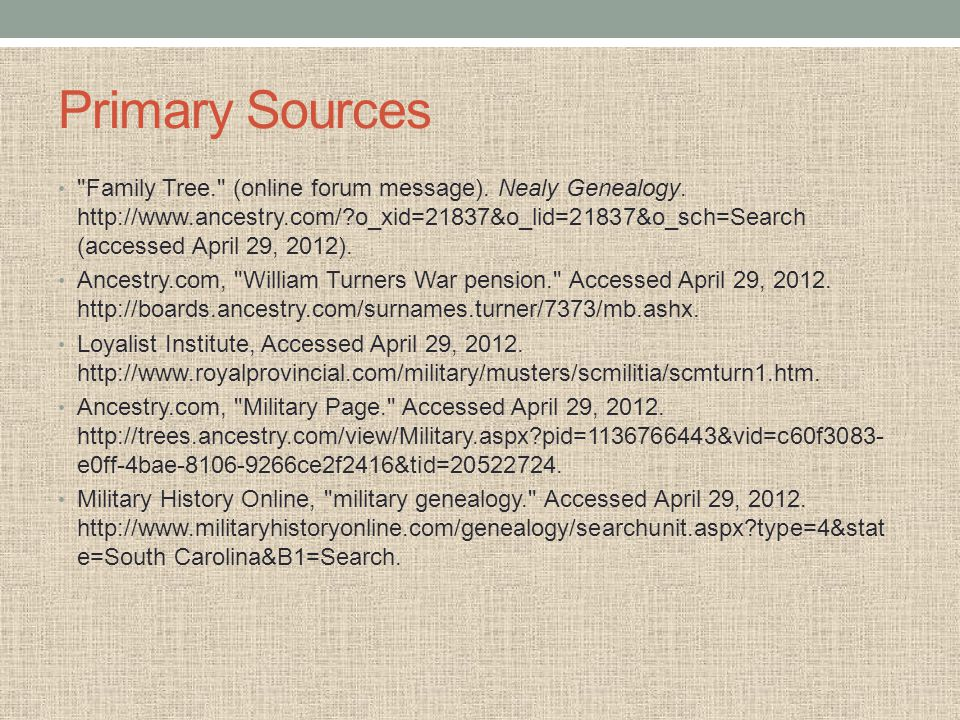 Primary Sources Family Tree. (online forum message).