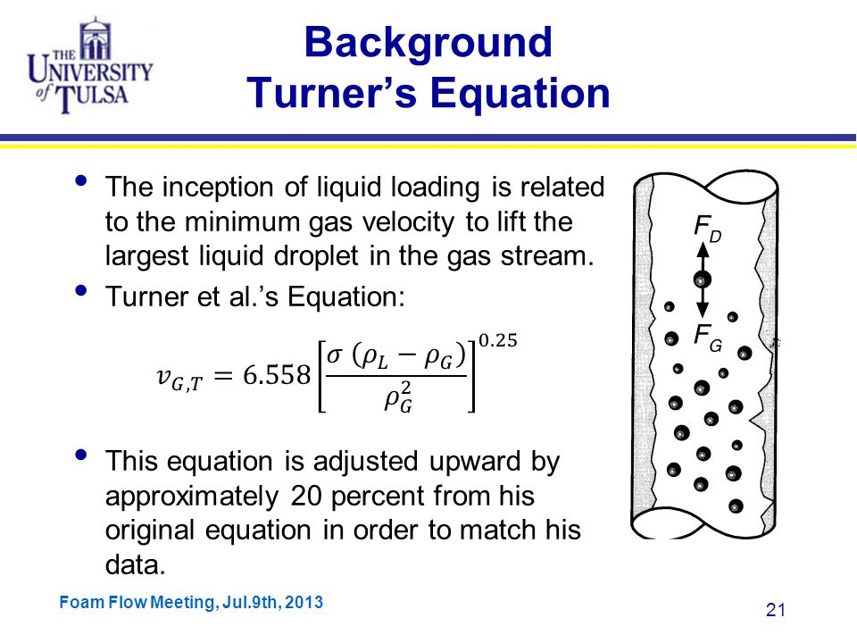 Foam Flow Meeting, Jul.9th, 2013 21 Background Turner's Equation The inception of liquid loading is related to the minimum gas velocity to lift the largest liquid droplet in the gas stream.