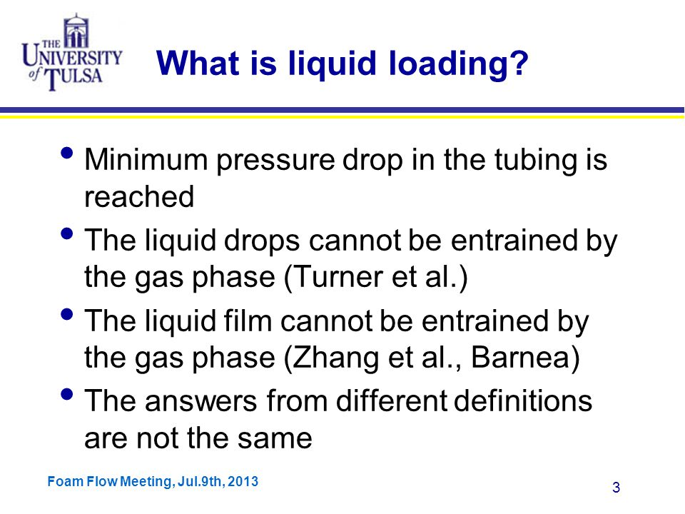 Foam Flow Meeting, Jul.9th, 2013 3 What is liquid loading.