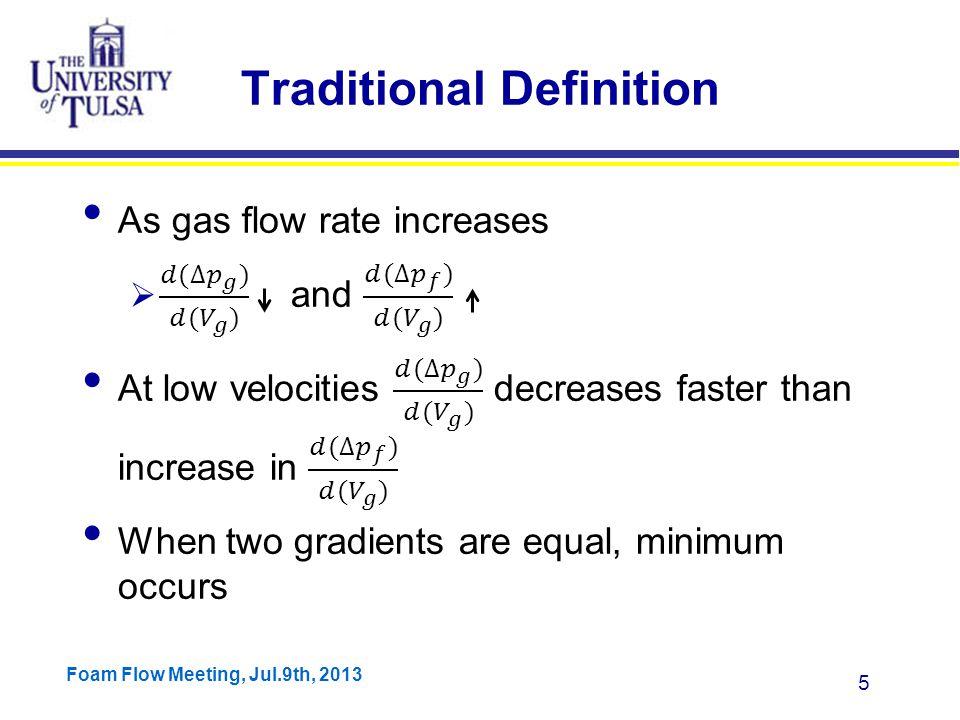 Foam Flow Meeting, Jul.9th, 2013 6 Definition based on Mechanisms Two potential mechanisms of transition from annular to slug flow  Droplet reversal  Film Reversal Models are either based on droplet reversal (Turner) or film reversal (Barnea)