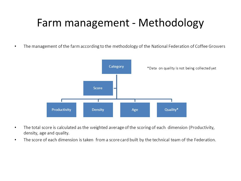 Farm management - Methodology The management of the farm according to the methodology of the National Federation of Coffee Growers The total score is calculated as the weighted average of the scoring of each dimension (Productivity, density, age and quality.