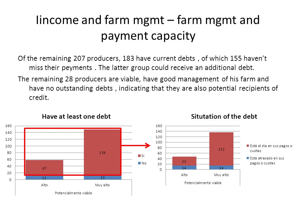 Of the remaining 207 producers, 183 have current debts, of which 155 haven't miss their peyments. The latter group could receive an additional debt. T