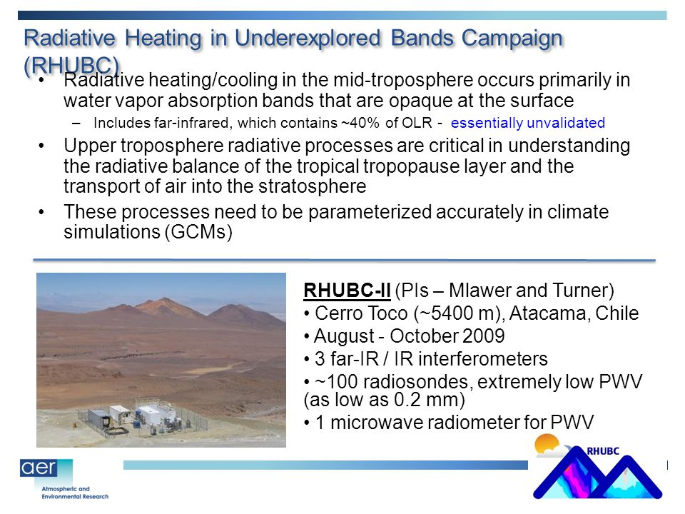 Radiative Heating in Underexplored Bands Campaign (RHUBC) Radiative heating/cooling in the mid-troposphere occurs primarily in water vapor absorption bands that are opaque at the surface –Includes far-infrared, which contains ~40% of OLR - essentially unvalidated Upper troposphere radiative processes are critical in understanding the radiative balance of the tropical tropopause layer and the transport of air into the stratosphere These processes need to be parameterized accurately in climate simulations (GCMs) RHUBC-II (PIs – Mlawer and Turner) Cerro Toco (~5400 m), Atacama, Chile August - October 2009 3 far-IR / IR interferometers ~100 radiosondes, extremely low PWV (as low as 0.2 mm) 1 microwave radiometer for PWV