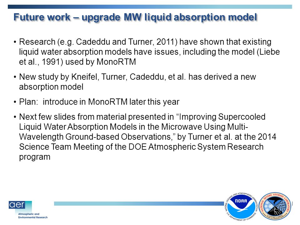 Future work – upgrade MW liquid absorption model Research (e.g.