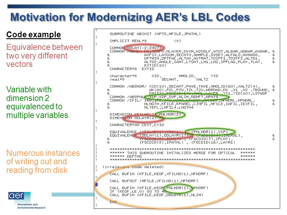 Code example Equivalence between two very different vectors Variable with dimension 2 equivalenced to multiple variables Numerous instances of writing out and reading from disk Motivation for Modernizing AER's LBL Codes