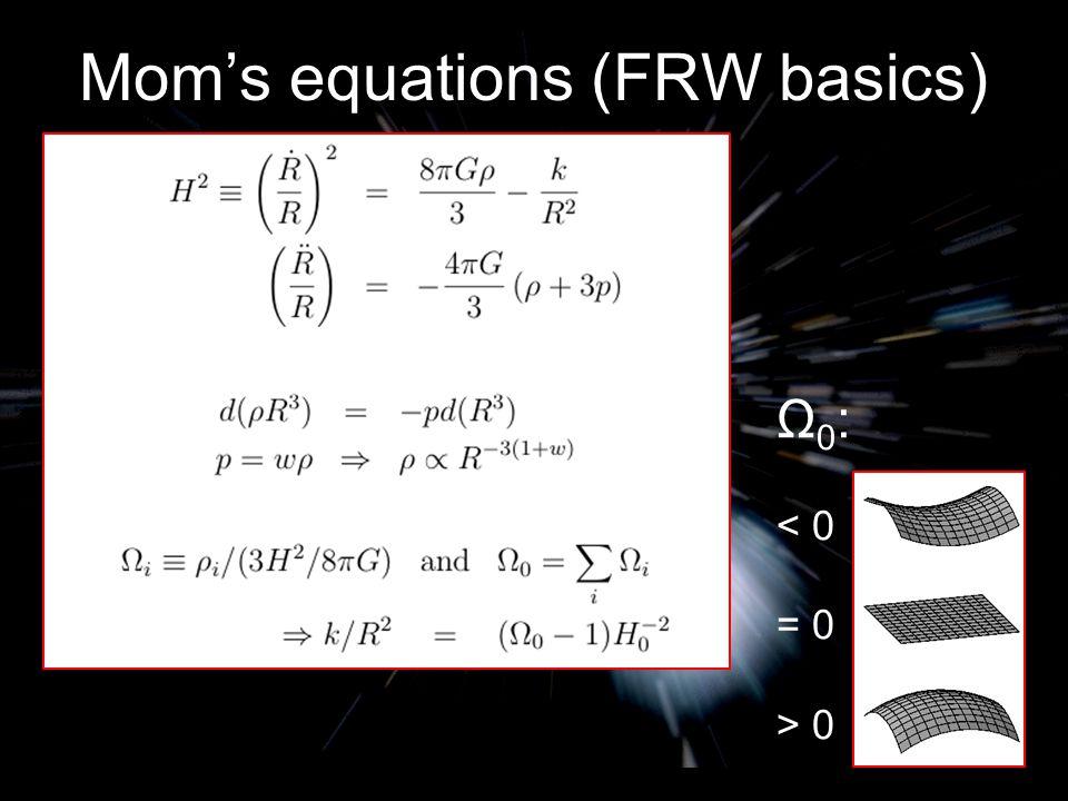 Mom's equations (FRW basics) Ω 0 : < 0 = 0 > 0