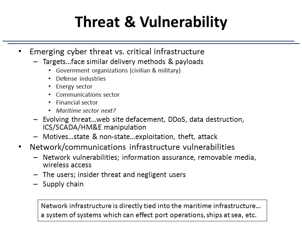 Threat & Vulnerability Emerging cyber threat vs. critical infrastructure – Targets…face similar delivery methods & payloads Government organizations (