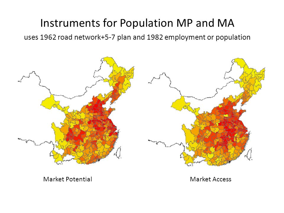 Instruments for Population MP and MA Market PotentialMarket Access uses 1962 road network+5-7 plan and 1982 employment or population