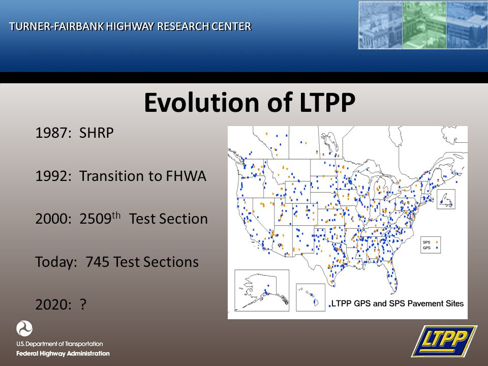 TURNER-FAIRBANK HIGHWAY RESEARCH CENTER Evolution of LTPP 1987: SHRP 1992: Transition to FHWA 2000: 2509 th Test Section Today: 745 Test Sections 2020: ?